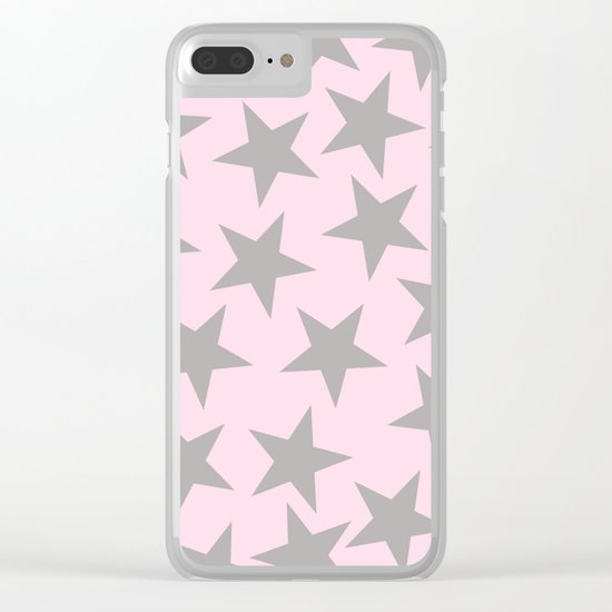 Grey stars on pink background pattern Clear iPhone Case