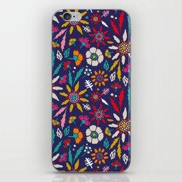 Chrysanthemum Garden in Blue iPhone Skin