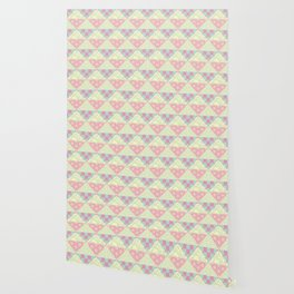 Japanese Style Patchwork Pattern in Pink, Green & Yellow Wallpaper