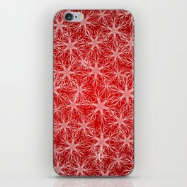 Snowflakes pattern on red background iPhone Skin