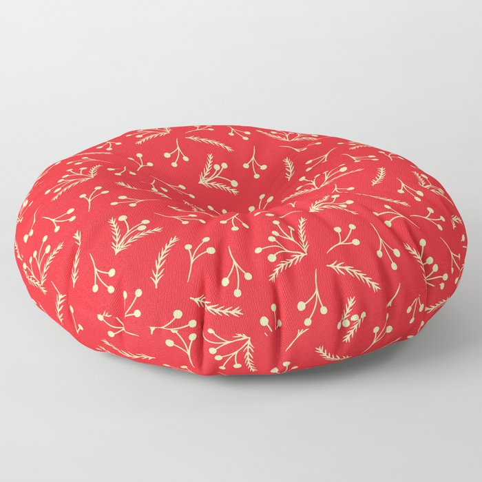 Christmas Branches and Berries in red and yellow Floor Pillow