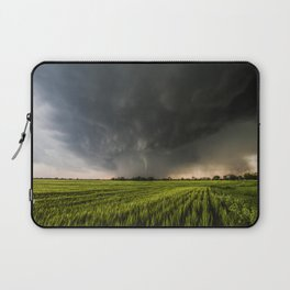 Beautiful Storm - Tornado Emerges From Rain Over Wheat Field in Kansas Laptop Sleeve