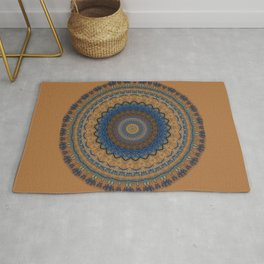 Rust Blue Mandala Design Rug