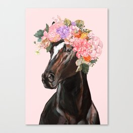 Horse with Flowers Crown in Pink Canvas Print