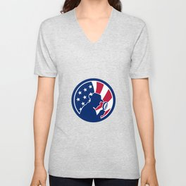 American Private Investigator USA Flag Icon Unisex V-Neck