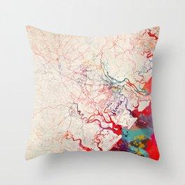 Scottsdale map Arizona painting Throw Pillow
