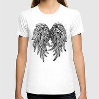 angel wings T-shirts featuring Pink Galaxy Angel Wings by Mad Love
