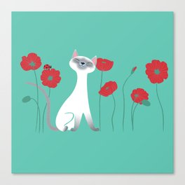 Siamese & Poppies Canvas Print