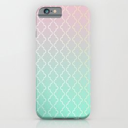 Moroccan pattern with mint, pink and gold iPhone Case