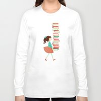 library Long Sleeve T-shirts featuring Library Girl by Stephanie Fizer Coleman
