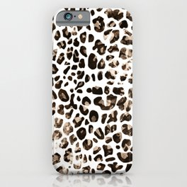 Grungy brown leopard print iPhone Case