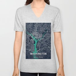 Washington Blue Dark Color City Map Unisex V-Neck