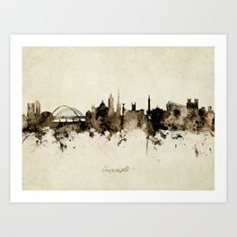 Newcastle England Skyline Art Print