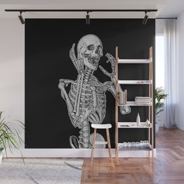 Skeleton screaming in horror Wall Mural