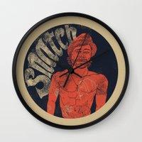 snatch Wall Clocks featuring Snatch by javier millan