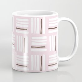 Stripes×Checkered Pattern_Dusty Pink&Chocolate Coffee Mug