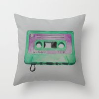 cassette Throw Pillows featuring Cassette by TrishRay