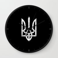 ukraine Wall Clocks featuring Ukraine Black Grunge by Sitchko Igor