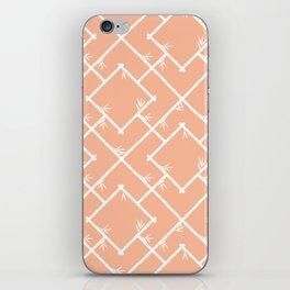 Bamboo Chinoiserie Lattice in Peach + White iPhone Skin