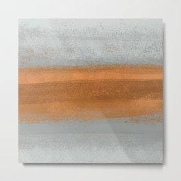 Rust Copper & Gray Concrete _Abstract Texture Brush Strokes Block Metal Print