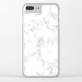 Fine Gold Marble Natural Stone Gold Metallic Veining White Quartz Clear iPhone Case
