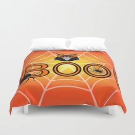 Boo, says the owl. It's Halloween! Duvet Cover