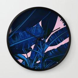 Midnight Blue Banana Leaves Wall Clock