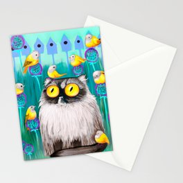 Persian Cat and Birds Stationery Cards