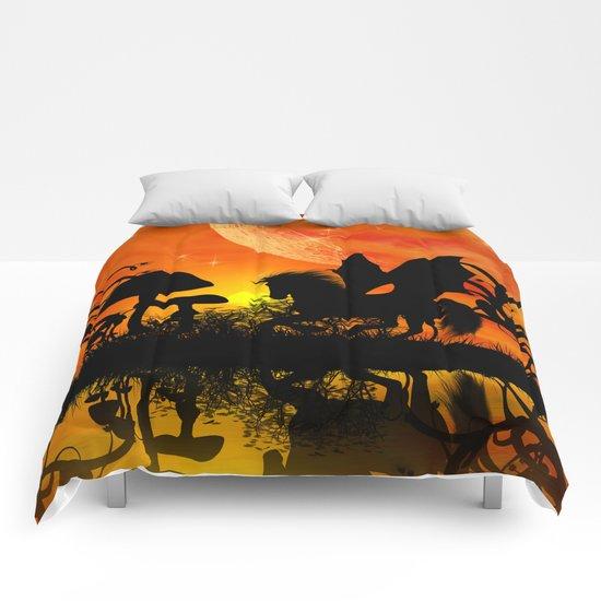 Beautiful unicorn silhouette Comforters