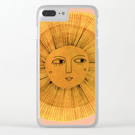 Sun Drawing Gold and Pink Clear iPhone Case