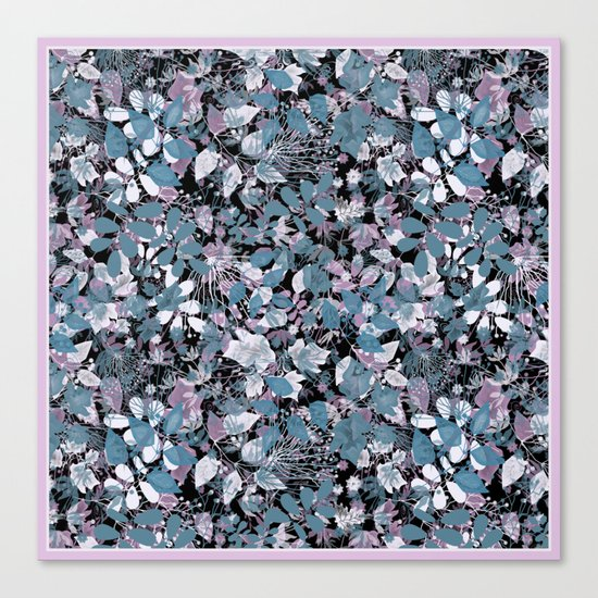 Openwork blue and purple leaves on a black background . Canvas Print