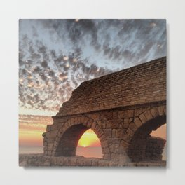 Roman Aqueduct at Sunset Metal Print
