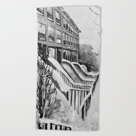 Brooklyn New York in Snow Storm Black and White Beach Towel