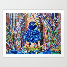 Satin Bowerbird woos his Mate detail Art Print