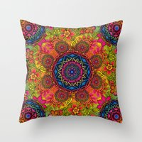 baroque Throw Pillows featuring baroque mandalas by Norma Lindsay