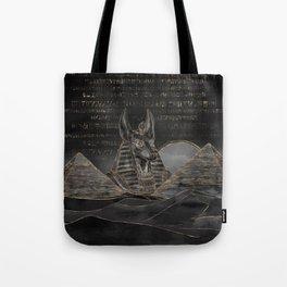 Anubis on Egyptian pyramids landscape Tote Bag