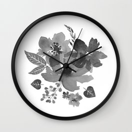 Grey Flowers Wall Clock