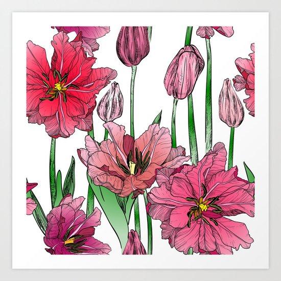 Pink Hibiscus Pattern Art Print