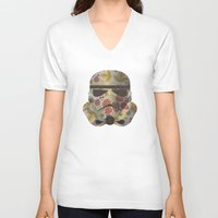 trooper V-neck T-shirts featuring STRAWBEЯRY TROOPER by Beardy Graphics