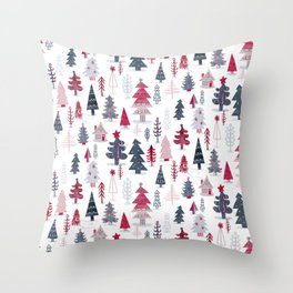 Home for the Holidays Winter Snowy Woods and Cozy Cabin Throw Pillow