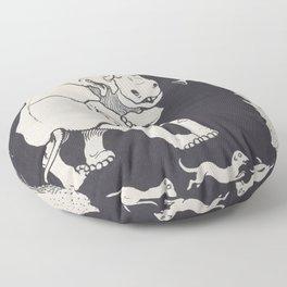Black and White print Rhinos Dancing Floor Pillow