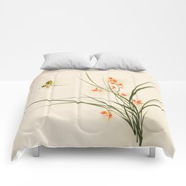 Oriental style painting - orchid flowers and butterfly 003 Comforters