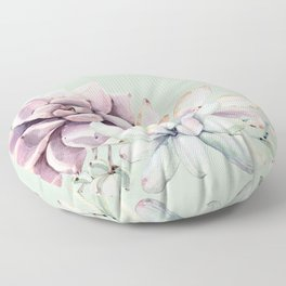 Beautiful Mint Succulents Floor Pillow