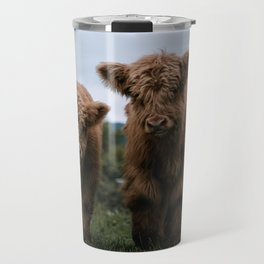 Scottish Highland Cattle Calves - Babies playing II Travel Mug