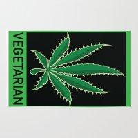 vegetarian Area & Throw Rugs featuring Vegetarian Marijuana Leaf by BudProducts.us