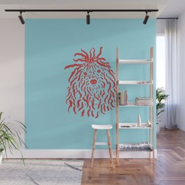 Puli (Sky Blue and Red) Wall Mural
