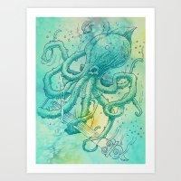kraken Art Prints featuring Kraken by pakowacz