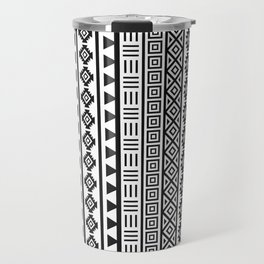 Aztec Influence Pattern II Black on White Travel Mug