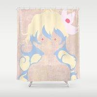 gurren lagann Shower Curtains featuring Minimalist Nia by 5eth
