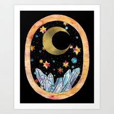 Golden Moon over Crystals Art Print